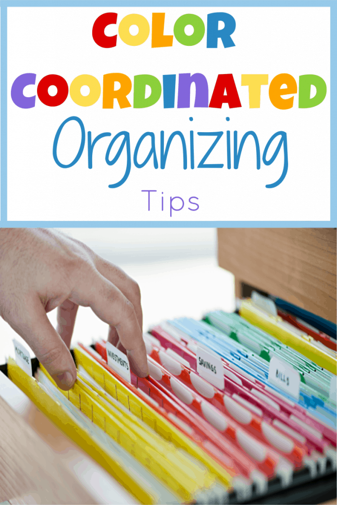 hand touching file folders organized by color with title text reading Color Coordinated Organizing Tips