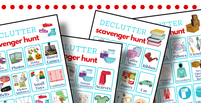 close up of colorful decluttering scavenger hunt checklists