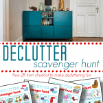 top image - blue organized dresser, bottom image - 4 brightly colored decluttering checklists