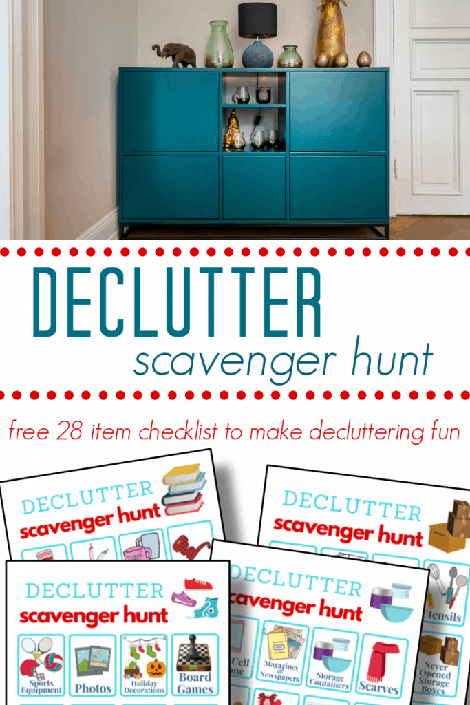 top image - blue organized dresser, bottom image - 4 brightly colored decluttering printable scavenger hunts with title text reading Declutter Scavenger Hunt