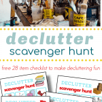 top image - messy table top with art supplies, bottom image - 4 pages of colorful decluttering scavenger hunt boards