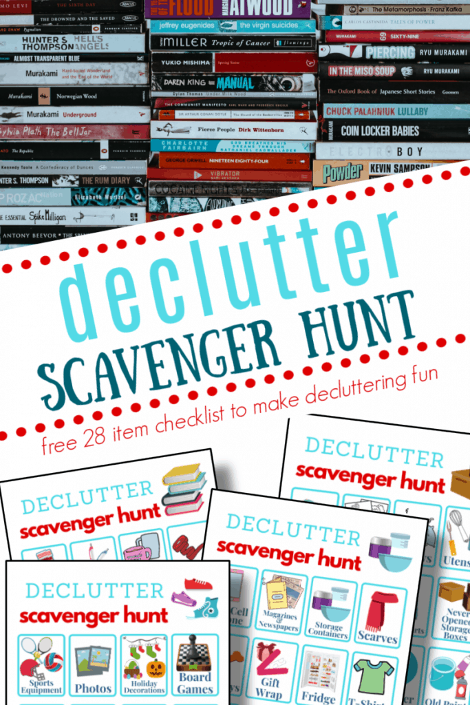 top image - rows of books, bottom image - 4 sheets of decluttering checklists with title text reading Declutter Scavenger Hunt