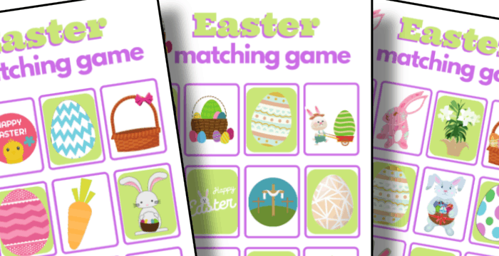 closeup of 3 colorful Easter memory matching game boards