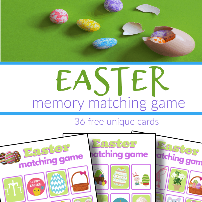 top image Easter eggs, bottom image - 3 Easter memory game boards