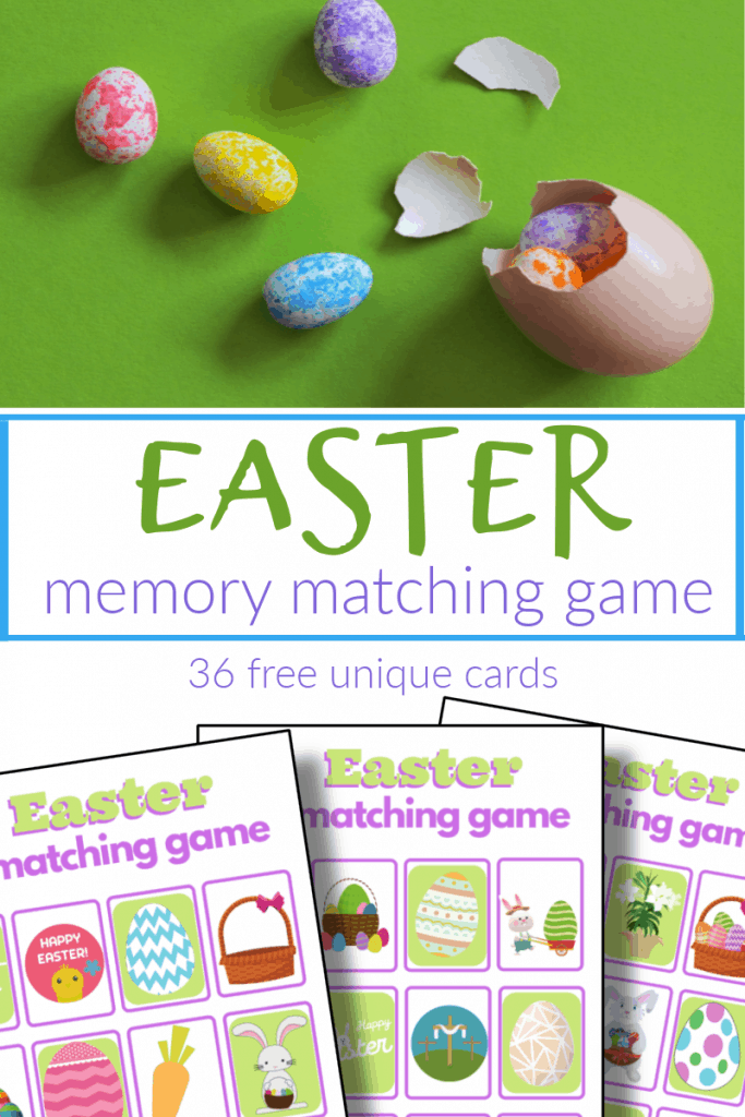 top image Easter eggs, bottom image - 3 Easter memory matching game boards