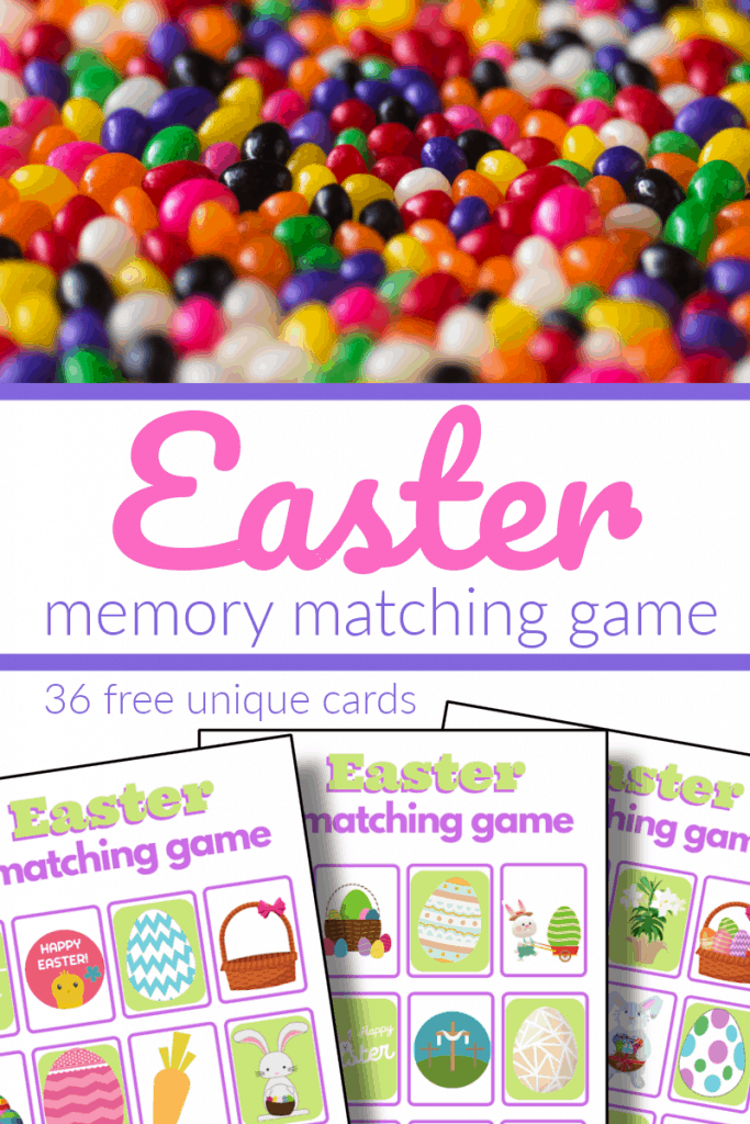 top image - pile of colorful jelly beans, bottom image - 3 Easter memory game boards