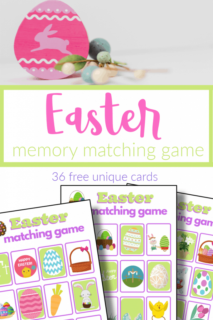 top image - pink Easter egg decoration, bottom image - 3 Easter memory games with title text reading Easter Memory Matching Game
