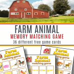 top image - red barn with trees, bottom image - 3 farm animal game sheets