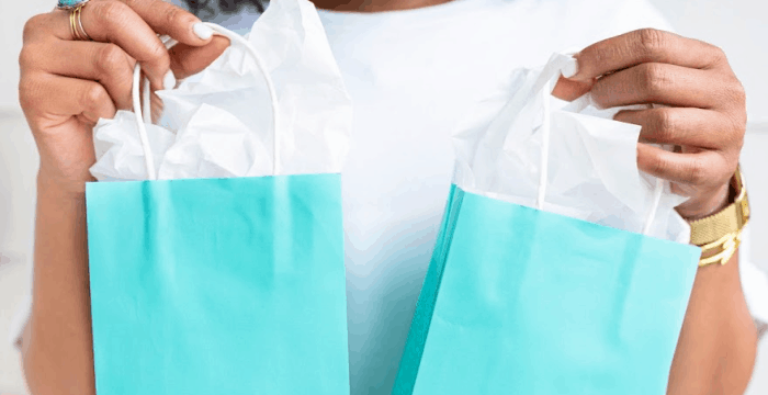 woman's hands holding 2 blue gift bags with white tissue paper