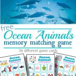 top image - fish in ocean, bottom image - 3 colorful ocean animal memory matching game boards