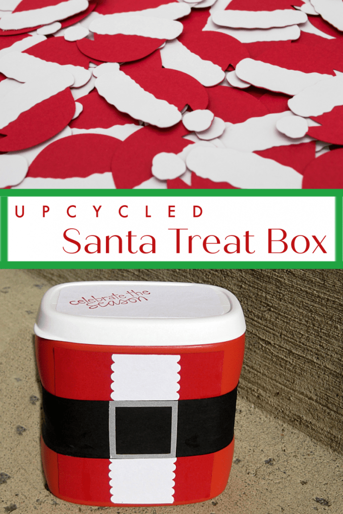top image - pile of paper Santa hats, bottom image - crafted box to look like Santa suit