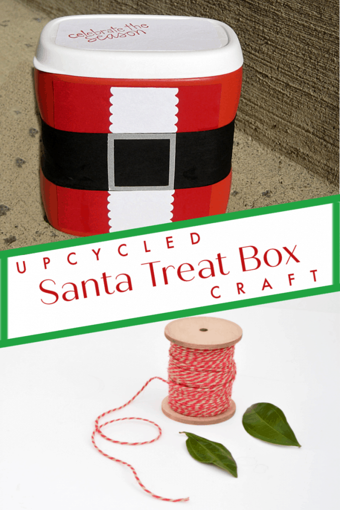 top image - red DIY crafted Christmas box, bottom image - spool of red twine and 2 green leaves on white table with title text reading Upcycled Santa Treat Box Craft