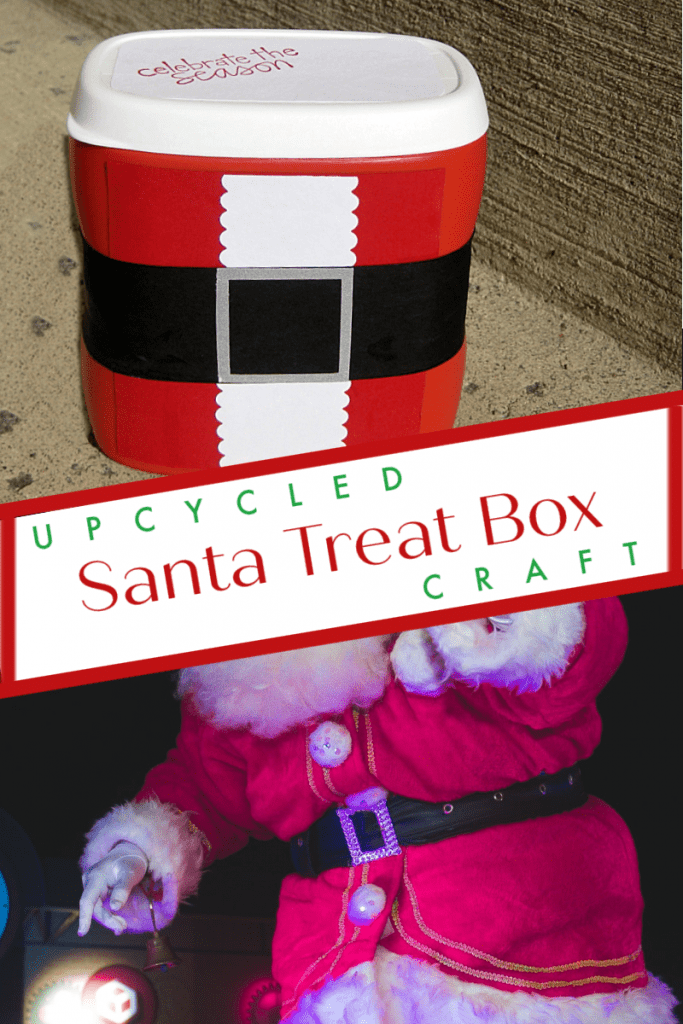 top image - red Santa suit box bottom image - close up of Santa suit with belt