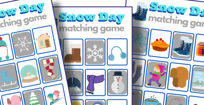 close up of 10 colorful snow day matching game boards