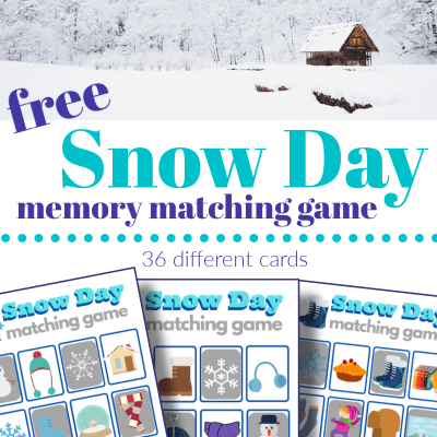 top image - house covered in snow, bottom image - 3 snow day memory matching game boards