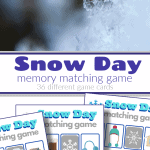 top image - snow flake, bottom image 3 colorful snow day memory matching game sheets