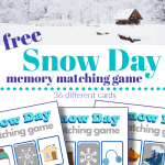 top image - house surrounded by snow, bottom image - 3 grey and blue snow day memory matching games
