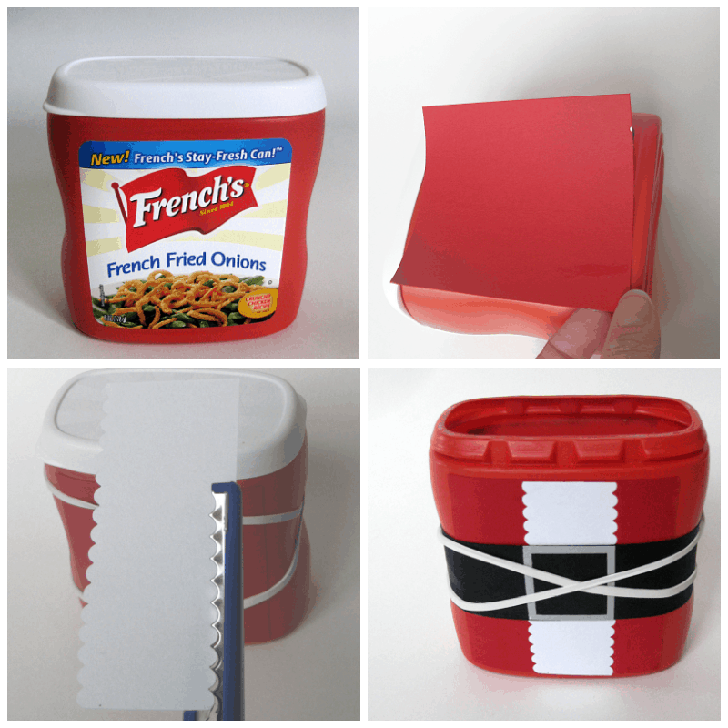 collage of 4 images turning red food box into DIY Santa suit