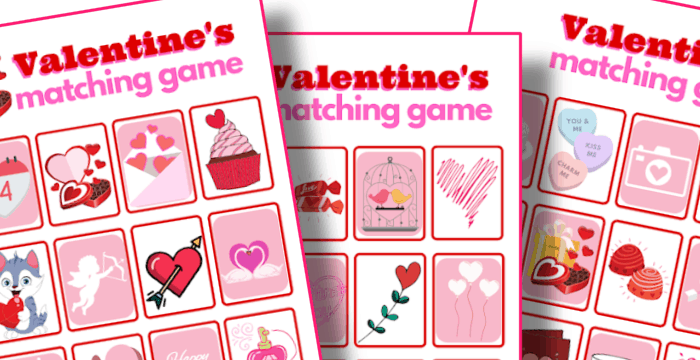 close up of 3 red and pink Valentine's memory matching game cards