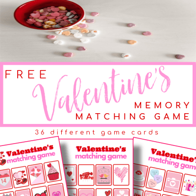 top image - bowl of Valentine's heart candy, bottom image - 3 red and pink memory matching game