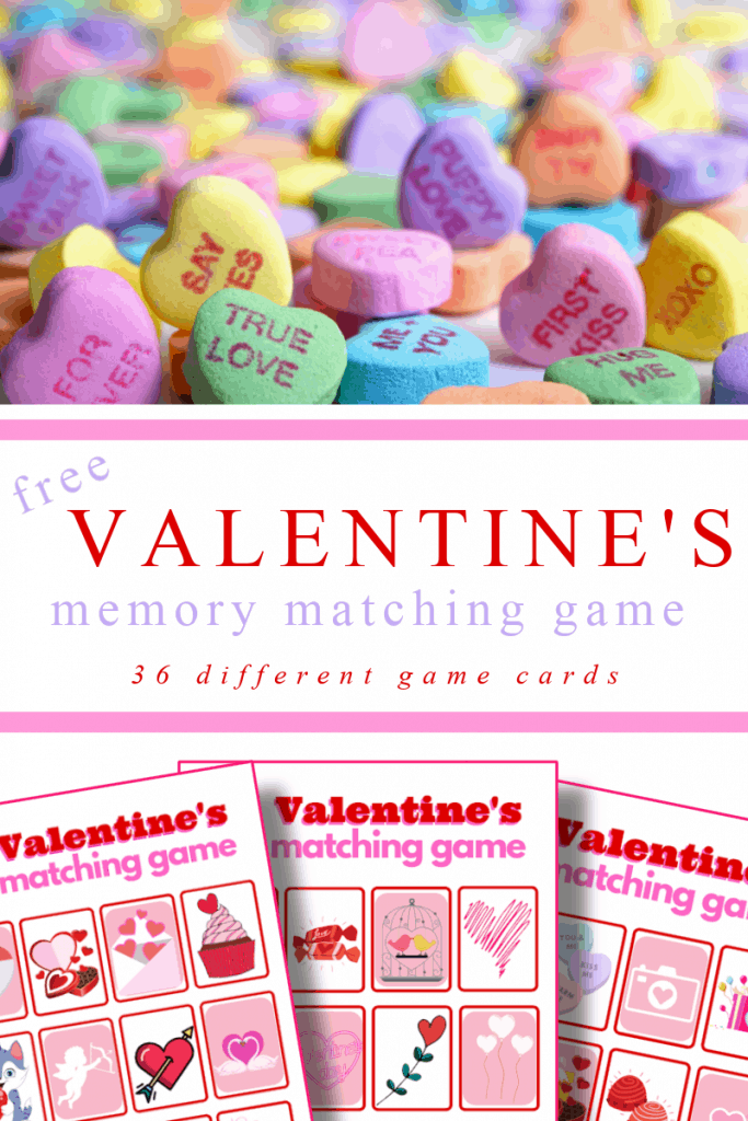 top image - pile of colorful heart, bottom image - 3 red and pink memory matching game sheets with title text reading free Valentine's Memory Matching Game 36 different game cards