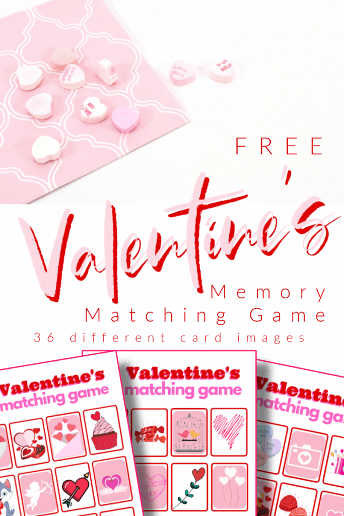 top image - pink napkin with heart candy, bottom image - 3 red and pink memory matching game