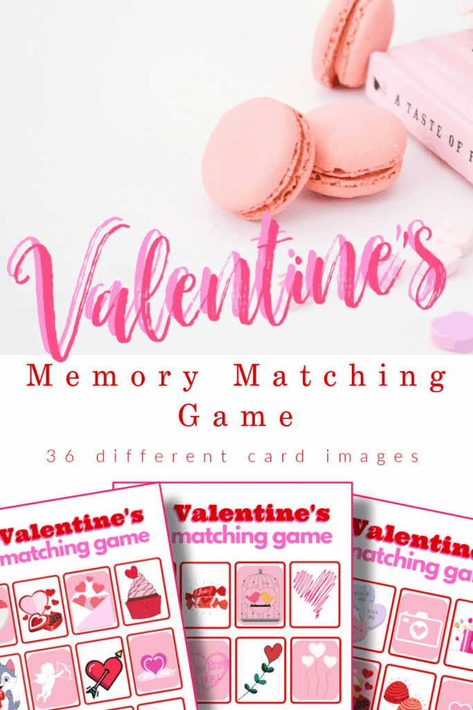 top image - 3 pink cookies and pink book, bottom image - 3 red and pink memory matching game with title text reading Valentine's Memory Matching Game 36 different card images