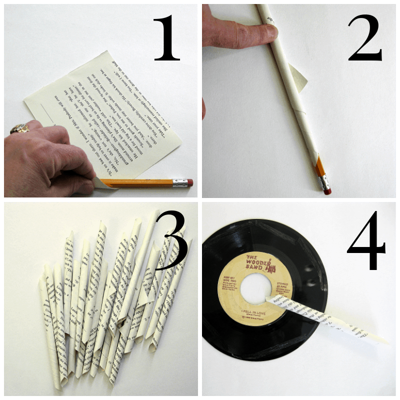 4 images of steps of making a book page wreath