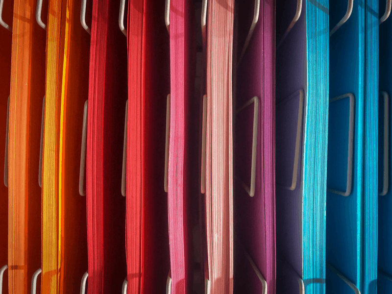 colorful paper organized by color
