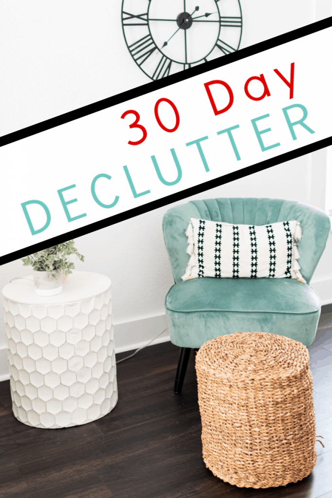 neat and tidy blue chair with white table and rattan table with title text overlay reading 30 Day Declutter