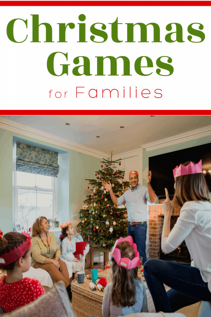 family playing game in front of a Christmas tree with title text reading Christmas Games for Families
