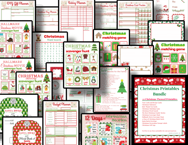 collage of red and green Christmas printable pages
