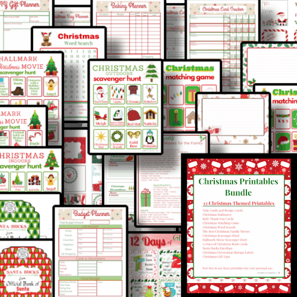 collage of red and green Christmas printable sheets
