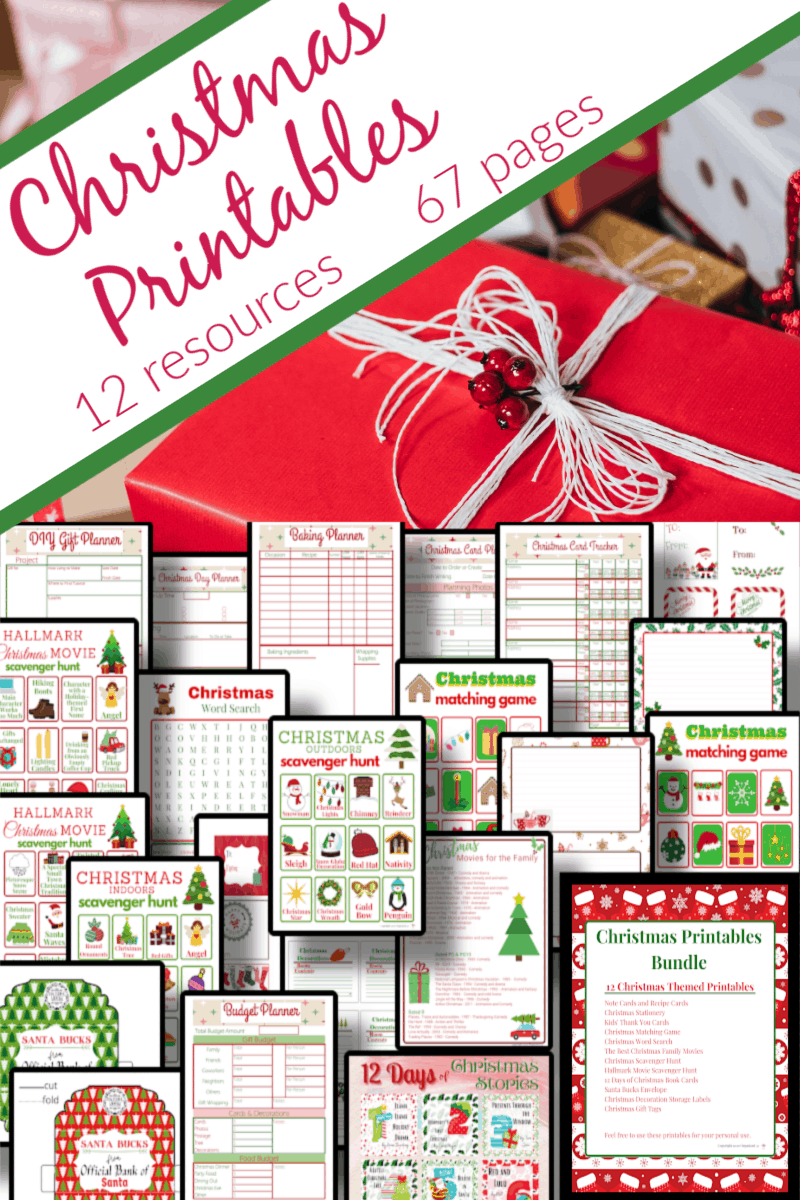 top image - wrapped gifts, bottom - image - collage of pages of Christmas printables