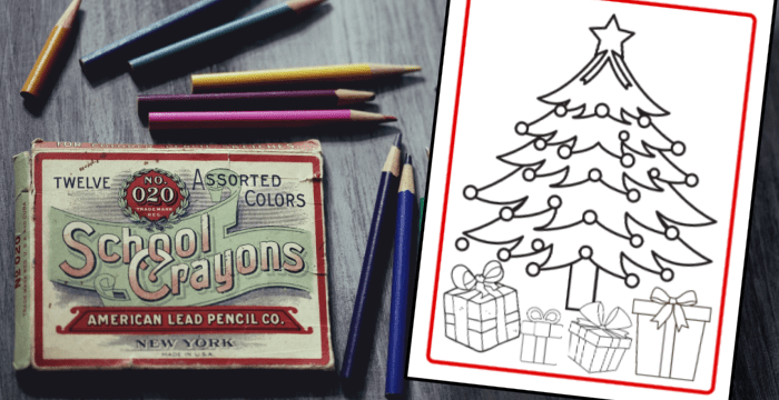 close up of box of colored pencils next to Christmas tree coloring sheet on desk
