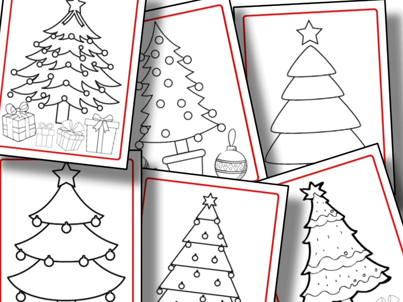close up of 6 Christmas tree coloring pages