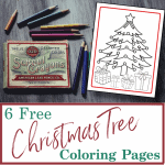 box of colored pencils on desk next to Christmas tree coloring sheet