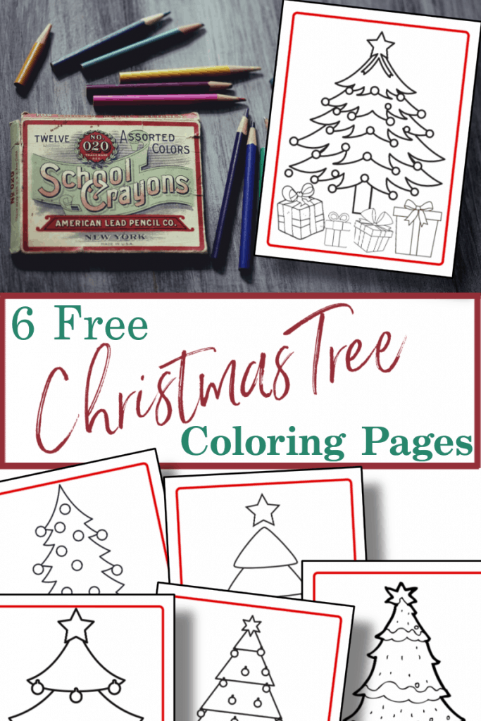 top image- Christmas coloring page on desk next to colored pencils, bottom image - 5 coloring pages