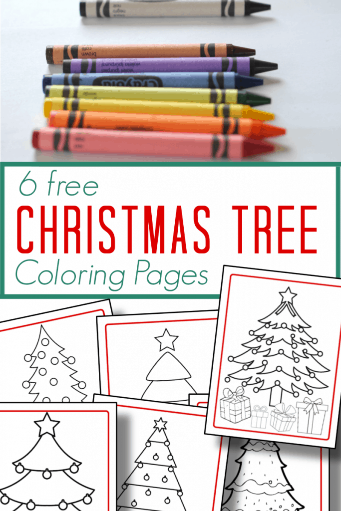 top image - row of crayons, bottom image - images of Christmas coloring pages