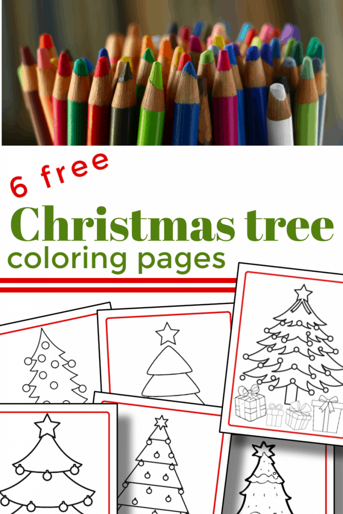 top image - collection of colored pencils, bottom image - 6 Christmas tree coloring pages