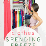 woman reaching into closet filled with brightly colored clothes