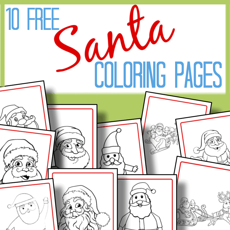10 images of Santa coloring pages