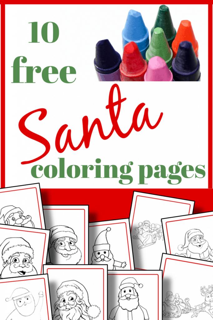 top image - crayons, bottom image, 10 sheets of Santa coloring pages