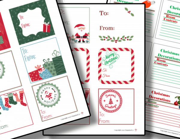 red and green gift tags