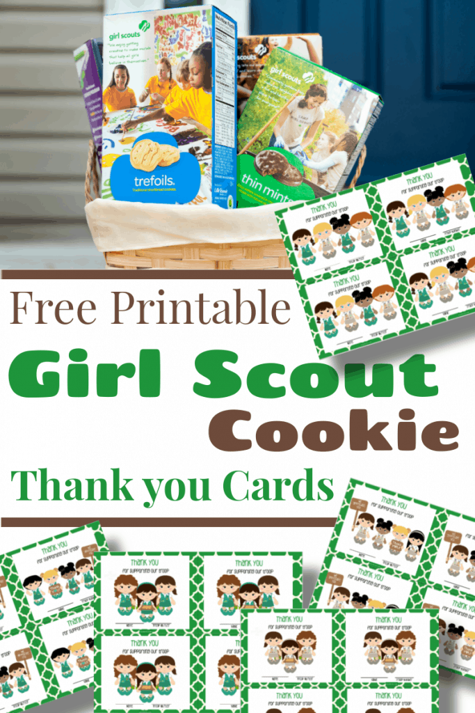 basket of Girl Scout cookie boxes and images of thank you cards with girl scouts with title text reading Free Printable Girl Scout Cookie Thank You Cards