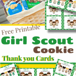 basket of girl scout cookies and 5 thank you card images