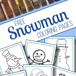 top image - row of crayons, bottom image - 6 snowman coloring sheets