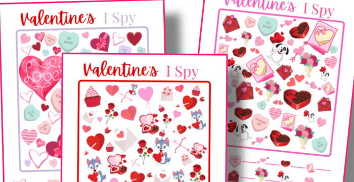 close up of three red and pink Valentine's I Spy game printables