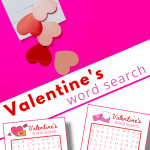 top image - paper hearts spilling out of envelope, bottom image - two Valentine's word search pages