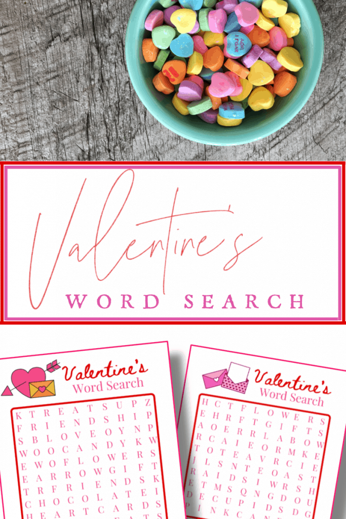 top image bowl of heart candy, bottom image 2 Valentine's word search sheets with title text reading Valentine's Word Search